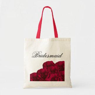 Bolso de la dama de honor de los rosas rojos bolsa tela barata