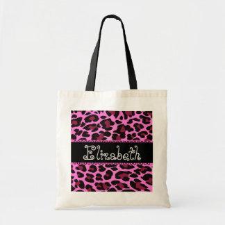 Bolso de la dama de honor del leopardo del negro d bolsa lienzo
