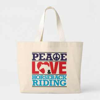 Bolso de la equitación del amor de la paz bolsa tela grande