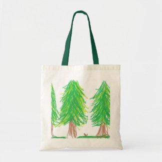 Bolso de la escena del bosque bolsa lienzo
