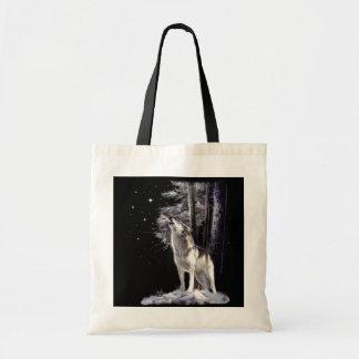 Bolso de la fauna con escena romántica del lobo bolsas de mano