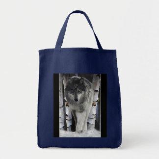 Bolso de la fauna del bosque del lobo gris y del a bolsas de mano