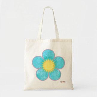 Bolso de la flor de la sol de la aguamarina bolsa tela barata