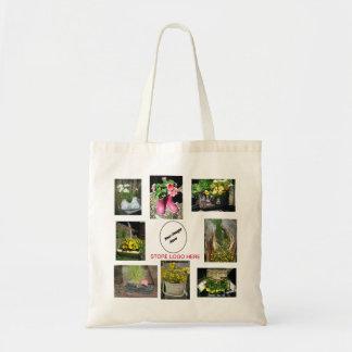 Bolso de la flor del logotipo del negocio bolsa tela barata