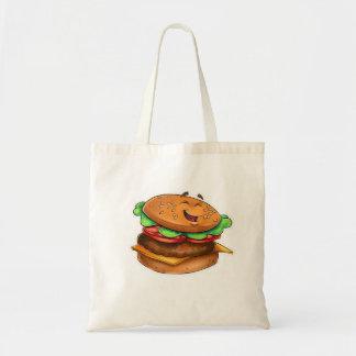 Bolso de la hamburguesa del dibujo animado bolsa tela barata
