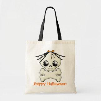 Bolso de la invitación de Halloween del cráneo del Bolsa Lienzo