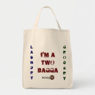 """Bolso de la lona de """"dos Bagga"""" Bolsa Tela Para La Compra"""