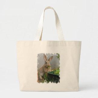 Bolso de la lona del conejo de conejo de rabo blan bolsa lienzo