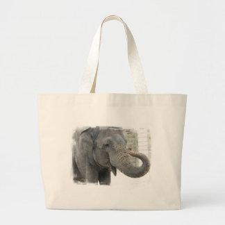 Bolso de la lona del elefante el tocar la trompeta bolsa de tela grande