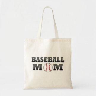 Bolso de la mamá del béisbol bolsa lienzo
