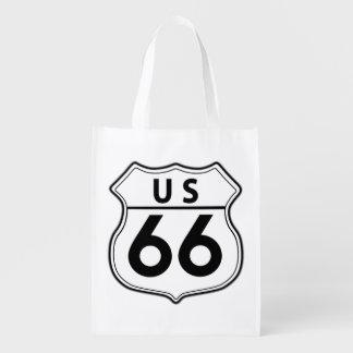 Bolso de la obra clásica de la ruta 66 de los bolsas reutilizables