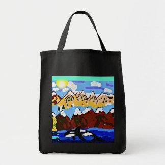 Bolso de la orca de la montaña del invierno bolsa tela para la compra