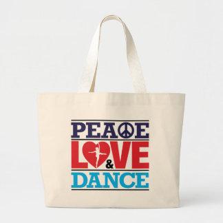 Bolso de la paz, del amor y de la danza bolsa tela grande