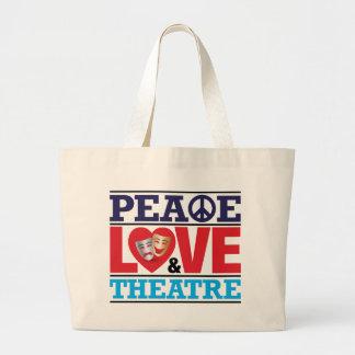 Bolso de la paz del amor y del teatro bolsas lienzo