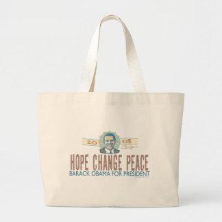 Bolso de la paz del cambio de la esperanza bolsa tela grande