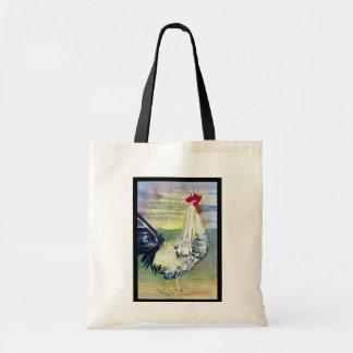 Bolso de la pintura del gallo de la buena mañana bolsa tela barata