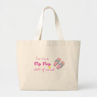 Bolso de la playa con cita del flip-flop bolsa tela grande