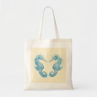 Bolso de la playa de dos seahorses del trullo bolsa tela barata