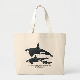 Bolso de la playa de la familia de la orca bolsa tela grande