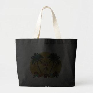 Bolso de la playa de las palmeras del chica de Hul Bolsa Tela Grande
