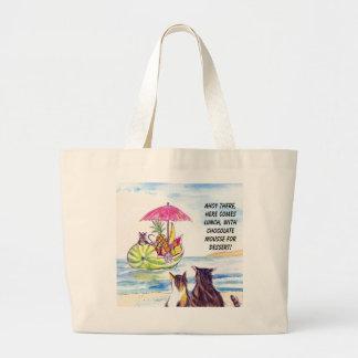 Bolso de la playa de los gatos de la fruta del ver bolsa tela grande