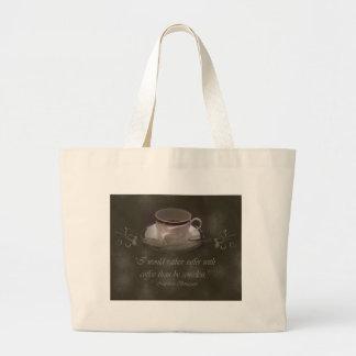 Bolso de la playa del amante del café bolsa tela grande