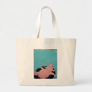bolso de la playa del cerdo bolsa tela grande