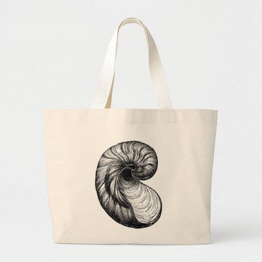 Bolso de la playa del Seashell de la lona - tote e Bolsa Tela Grande