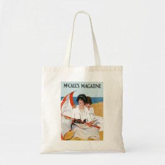 Bolso de la portada de revista de la playa del bolsa tela barata