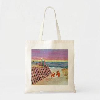 bolso de la puesta del sol del corgi bolsa tela barata