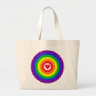 Bolso de la rueda del arco iris bolsa tela grande