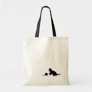 Bolso de la silueta del gatito y del hilado bolsa tela barata