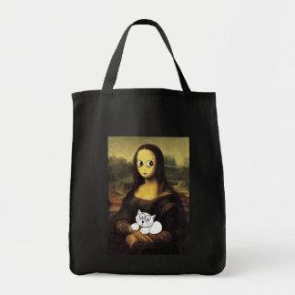 """""""Bolso de la sonrisa de Mona Lisa"""" Bolsa Tela Para La Compra"""