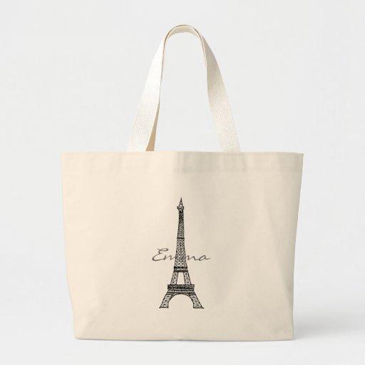 Bolso de la torre Eiffel Bolsa Tela Grande