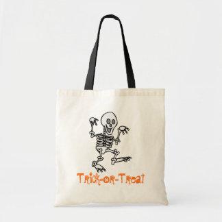 Bolso de la Truco-O-Invitación (esqueleto) Bolsa Tela Barata