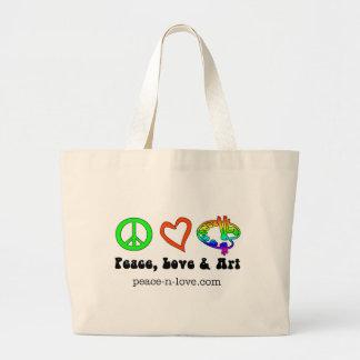 Bolso de las muestras de la paz, del amor y del ar bolsa de tela grande