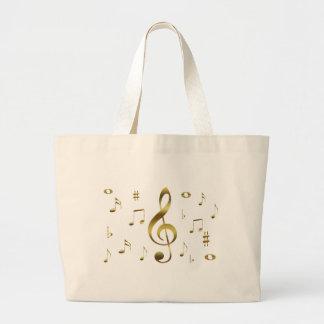 Bolso de las notas musicales del oro bolsa de mano