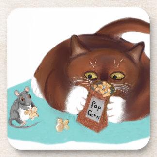 Bolso de las palomitas para el ratón y el gatito posavasos