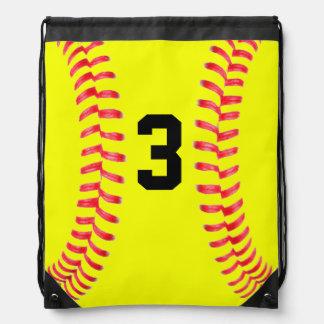 Bolso de lazo amarillo de encargo del softball con mochila