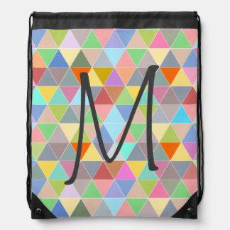 Bolso de lazo colorido con los triángulos mochila
