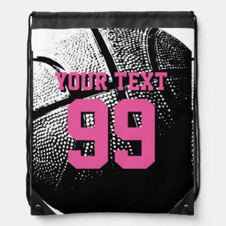 Bolso de lazo de encargo del baloncesto del número mochilas