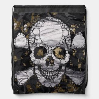 Bolso de lazo de la textura del cráneo y del metal mochilas