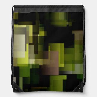 Bolso de lazo geométrico negro y verde mochilas