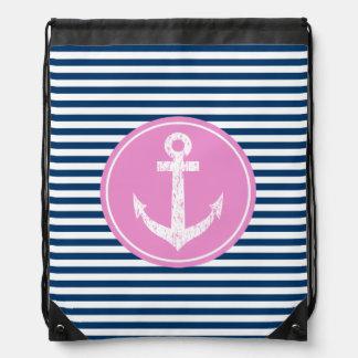 Bolso de lazo náutico con el icono rosado del ancl mochilas