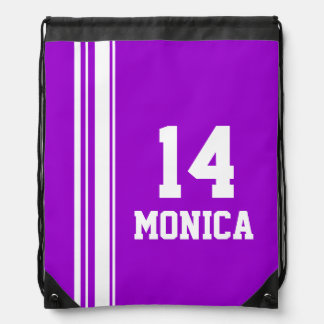 Bolso de lazo púrpura de la raya de los deportes mochilas