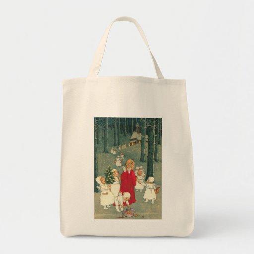 Bolso de los ángeles del bosque del navidad bolsas lienzo