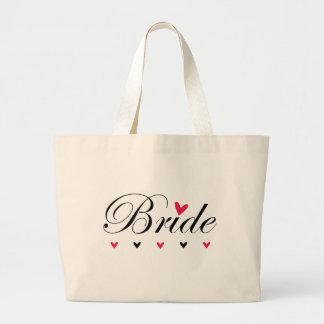 Bolso de los corazones de la novia bolsa tela grande