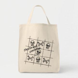 bolso de los cráneos y de la bandera pirata bolsa tela para la compra