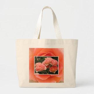 Bolso de los rosas de la mandarina bolsa tela grande
