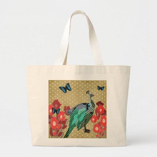 Bolso de oro pintado del pavo real y de la estrell bolsa de mano